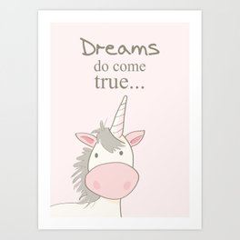 Dreams do come true art print, unicorn print, art for kids, art for baby, kids room decor Art Print