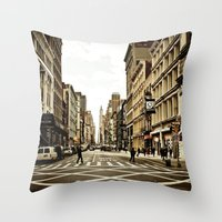 broadway Throw Pillows featuring Broadway by Randolph Pfaff