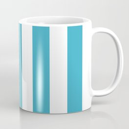 Moonstone turquoise - solid color - white vertical lines pattern Coffee Mug
