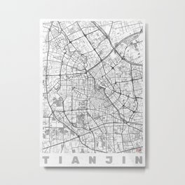 Tianjin Map Line Metal Print