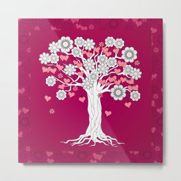 romantic tree on vinous Metal Print