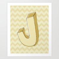 J with Chevron Art Print