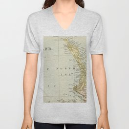 Vintage Map of New Zealand Unisex V-Neck