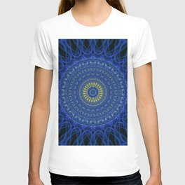 Mandala in dark blue tones with yellow flower T-shirt