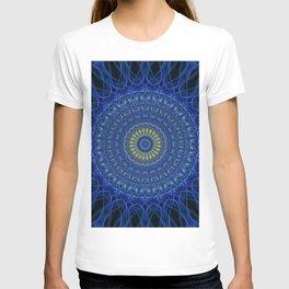 Mandala in dark blue tones with yellow flower T-shirt