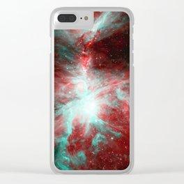 Orion Nebula Red Aqua Clear iPhone Case