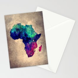 Africa map blue brown Stationery Cards
