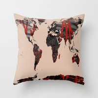 erotic Throw Pillows featuring World Map Erotic Red by andréart