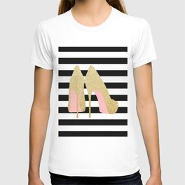 High Heels,Glitter Print,Gold Print,Wall Art,Home Decor,Fashion Illustration,Fashion Print,Gift Idea T-shirt