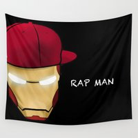 rap Wall Tapestries featuring Rap man by Tony Vazquez
