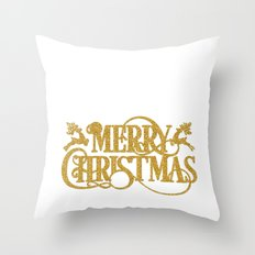 Merry Christmas - Gold glitter Typography Throw Pillow