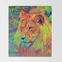 AnimalColor_Lion_004_by_JAMColors Throw Blanket