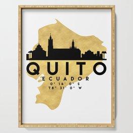 QUITO ECUADOR SILHOUETTE SKYLINE MAP ART Serving Tray