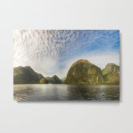 Sunglow over interesting Mountain Range at Doubtful Sound Metal Print