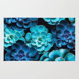 Succulent Plants In Blue And Turquoise Color #decor #society6 #homedecor Rug