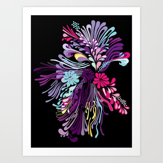Abstact color flowers Art Print