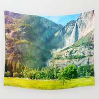 yosemite Wall Tapestries featuring Yosemite Valley Waterfall by JonCoetography