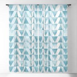 Mid Century Modern Art Geometric Pattern of Teal Blue Triangles Sheer Curtain