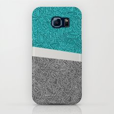 Digital Pen & Ink: Turquoise & Black Doodles Galaxy S7 Slim Case