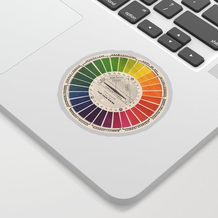 Vintage Color Wheel - Art Teaching Tool - Rainbow Mood Chart Pride Sticker