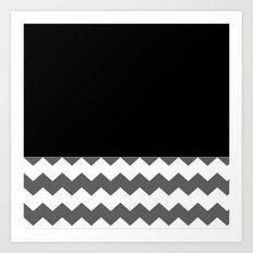 Chevron Gray Black And White - Glamour Art Print