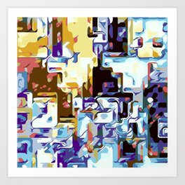 purple brown pink yellow and blue Art Print
