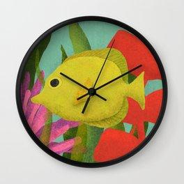 Yellow Fish In The Ocean Wall Clock