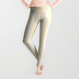 Trendy Large Buttercup Yellow Pastel Butter French Mattress Ticking Double Stripes Leggings