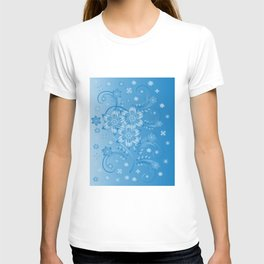 Abstract blue flowers with background T-shirt