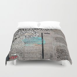 Grey Teal Abstract Art  Duvet Cover