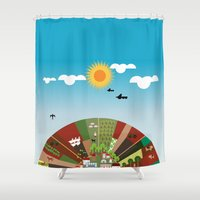 farm Shower Curtains featuring Farm by Design4u Studio