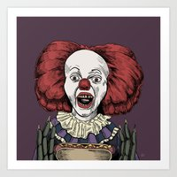 pennywise Art Prints featuring Pennywise is hungry by Andres Eladio