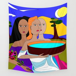 Three Women Preparing for Evening, Purple Sky Wall Tapestry