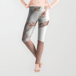 Rose gold marble and foil Leggings