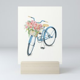 Blue Bicycle with Flowers in Basket Mini Art Print