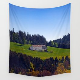 A farm, blue sky and some panorama | landscape photography Wall Tapestry