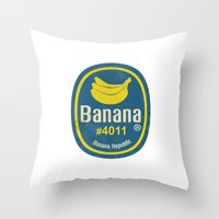 sticker Throw Pillows featuring Banana Sticker On White by Karolis Butenas