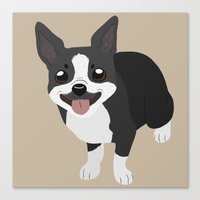 boston terrier Canvas Prints featuring Boston Terrier by Sarah