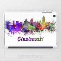 cincinnati iPad Cases featuring Cincinnati skyline in watercolor by Paulrommer