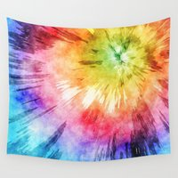 tie dye Wall Tapestries featuring Tie Dye Watercolor by Phil Perkins