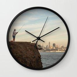 Fishing in San Francisco Photography, Sunset in SF, Sausalito view of San Francisco Wall Clock