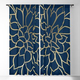 Floral Prints, Line Art, Navy Blue and Gold Blackout Curtain