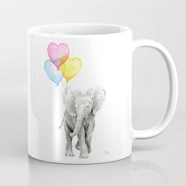 Elephant Watercolor with Balloons Rainbow Hearts Baby Animal Nursery Prints Coffee Mug