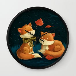 Sweet, cute little foxes In love overnight Wall Clock