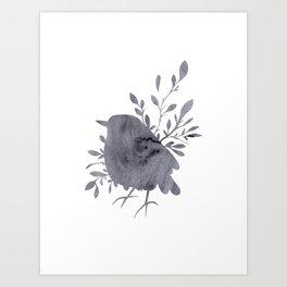 Grey Watercolor Bird Art Print