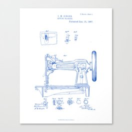 Sewing Machine Vintage Patent Hand Drawing Canvas Print