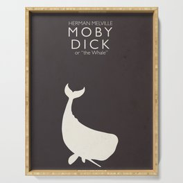 Moby Dick, Herman Melville, minimal book cover, classic novel, the whale, sea adventures Serving Tray