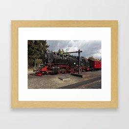 Steam train for water refueling Framed Art Print