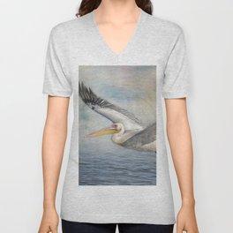 Flight of a Great White Pelican Unisex V-Neck