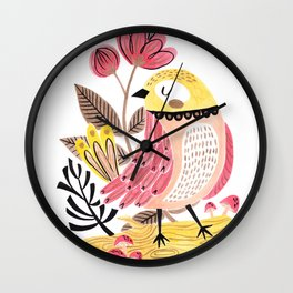 Little Birdy on a Log Wall Clock